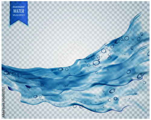 Fototapeta blue water splash wave with bubbles on transparent background