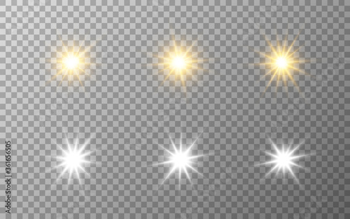 Obraz Luxury stars set. Gold and silver elements on transparent backdrop. Festive collection. Star burst effect. Magic sparkles for banner or poster. Vector illustration - fototapety do salonu