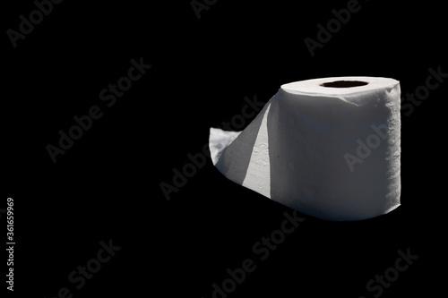 Um rolo de papel higiênico em um fundo preto Canvas Print