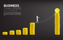 Silhouette Of Businesswoman Walking On Rope Walk Way To Golden Coin Stack Graph .Concept For Business Risk And Challenge.