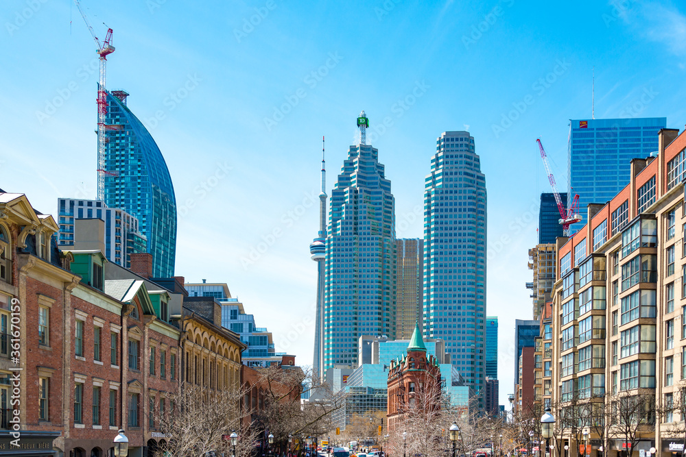 Fototapeta Toronto, Canada, famous buildings in the downtown district