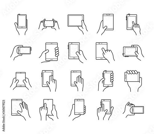 Fotografia bundle of hands and smartphones set icons