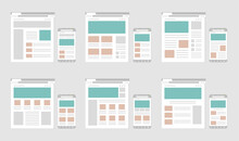 Web Pages Wireframe Layout Illustration Set / Web Design Template For PC Browser , Smartphone.