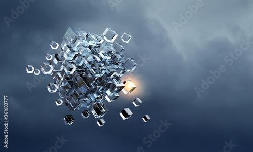 Obraz Floating cubes. Innovation and creativity concept - fototapety do salonu