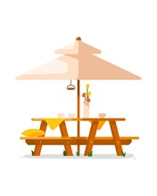 Garden Table. Isolated Outside Wooden Table With Seats And Parasol Icon. Vector Garden, Cafe Or Backyard Outdoor Summer Furniture