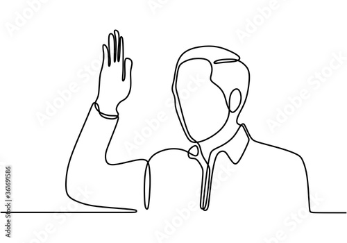 Photo Continuous single line drawing of man waving hand