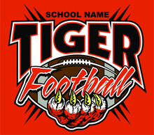 Tiger Football Team Design With Tiger Claw And Ball For School, College Or League