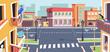 Empty town on coronavirus quarantine, covid19 lockdown of city