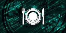 Food Plate Icon Floral Emerald...