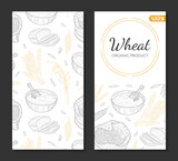 Wheat Organic Product Card Template, Agricultural Plants and Baked Products, Bakeshop, Cafe, Packaging, Menu Design Hand Drawn Vector Illustration