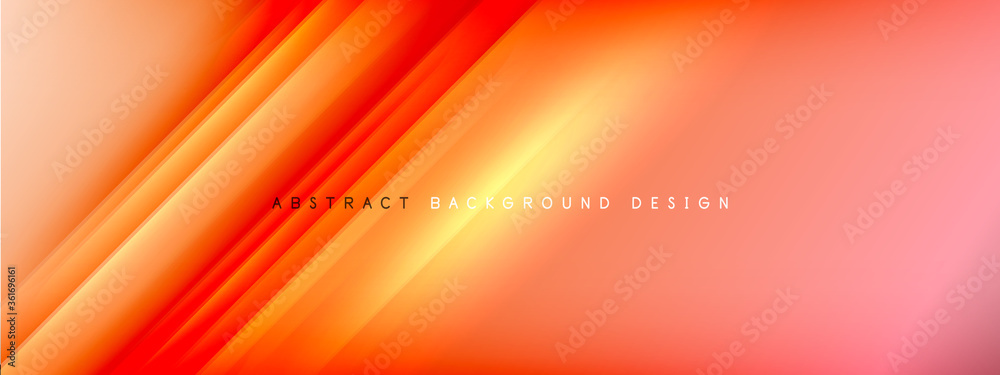Fototapeta Motion concept neon shiny lines on liquid color gradients abstract backgrounds. Dynamic shadows and lights templates for text