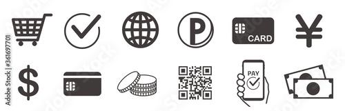 Fotografiet cashless and money vector icons set