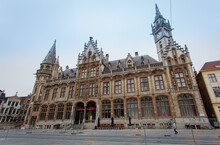 The Old Post Office Building In Ghent. Medieval Architecture And Landmark Of Ghent Belgium
