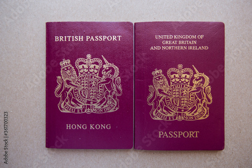 Valokuvatapetti Hong Kong British National (Overseas) BNO passport and British Dependent Territo