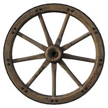 Old Wooden Wagon Wheel Isolate...