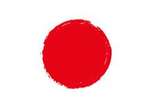 手描きの赤い丸、背景...