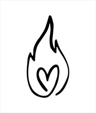 Line Fire Heart And Flame. Graphic Element Vector. Sketch Fire Heart, In Love. Hand Drawing Hot Black Tattoo Illustration On White Vintage Background. Line Bonfire Draw. Retro Brush Outline Love