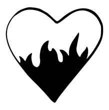 Cartoon Fire Flame Heart. Graphic Element Vector. Sketch Fire Heart, In Love. Hand Drawing Hot Black Tattoo Illustration On White Vintage Background. Line Silhouette Bonfire Draw. Retro Brush.