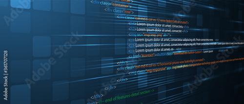 Fototapeta Software development abstract technology code and script background obraz