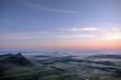 Mountain-steppe landscape in the fog. South Siberia. The Republic of Khakassia.