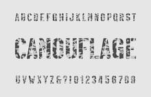 Camouflage Alphabet Font. Sten...