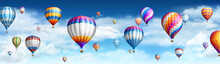 Balloons In Sky With Clouds