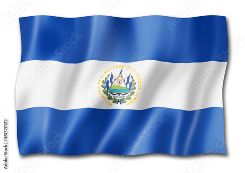 Salvadoran flag isolated on white Fototapeta