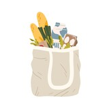 Textile shopping package full of fresh healthy food vector flat illustration. Canvas bag with handle filling groceries isolated on white background. Eco friendly mesh for carrying purchases