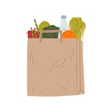Brown paper pack with healthy groceries vector flat illustration. Eco friendly package with handle for purchases isolated on white. Packet full of different tasty food - vegetables, fruit and bottle