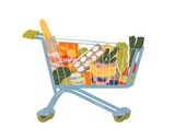 Shopping cart full of food and drink vector flat illustration. Grocery trolley with handle filling by fruit, vegetables, beverage and can isolated on white. Pushcart from self-service shop