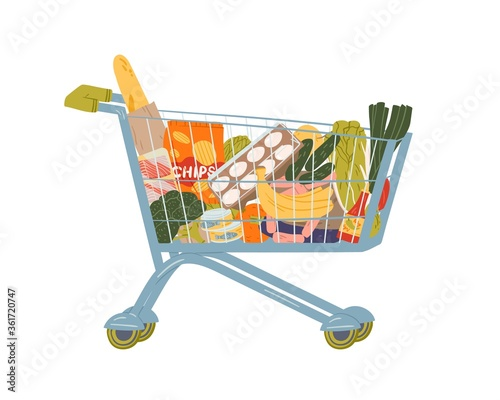 Fototapeta Shopping cart full of food and drink vector flat illustration. Grocery trolley with handle filling by fruit, vegetables, beverage and can isolated on white. Pushcart from self-service shop obraz