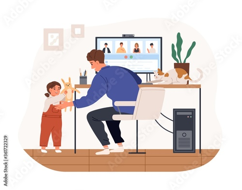 Cute female kid and cat distracting father from work vector flat illustration. Modern man working remotely from home use computer isolated on white background. Remote work disadvantages