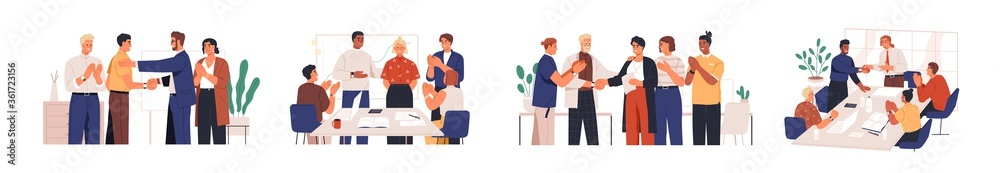 Fototapeta Set of diverse team congratulates colleague vector flat illustration. Collection of people celebrate career development, successful project or birthday isolated. Man and woman employee shaking hands