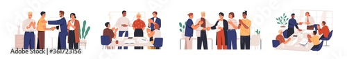 Set of diverse team congratulates colleague vector flat illustration. Collection of people celebrate career development, successful project or birthday isolated. Man and woman employee shaking hands