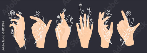 Photo Vector white hand and palm with line art white flowers