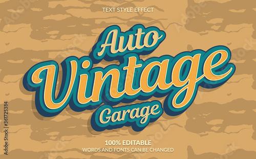 Fototapeta Editable Text Effect, Auto Vintage Garage Text Style obraz