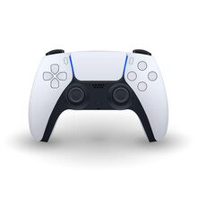 Controller Wireless, Black And White, Gamepad For Play Games On PS5 Console Or Pc, Gamer, Detailed, Futuristic Technology, New, Next Gen, Vector EPS 10