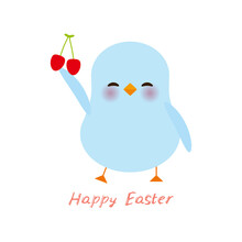 Happy Easter Greeting Card Banner Template. Kawaii Blue Chick Cute Funny Bird With Pink Cheeks And Winking Eyes, Red Cherry, Pastel Colors Isolated On White Background. Vector