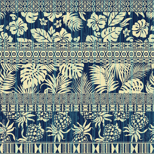 Grunge tropical hibiscus leaves and tribal hawaiian ornament patchwork abstract vector seamless pattern