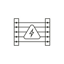 Electric Fence Icon. Caution Symbol Modern, Simple, Vector, Icon For Website Design, Mobile App, Ui. Vector Illustration