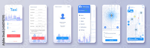 Design a taxi UI / UX app with a screen for logging in, registering and searching, cab booking, map navigation for cars. Trendy Infographic of city Map Navigation.Laying of the route on the map.Vector