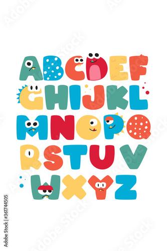 ABC Kids Poster Vector. Children's Cheerful Alphabet Wall Poster Vector #361744505