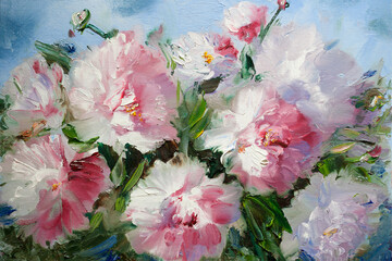 Fototapeta Do salonu Bouquet of flowers. Oil painting light pink peonies close-up. Hand oil painting on canvas