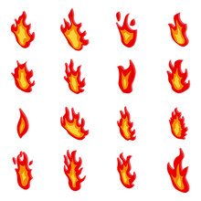 Fire Flame Icons Set. Isometric Set Of Fire Flame Vector Icons For Web Design Isolated On White Background