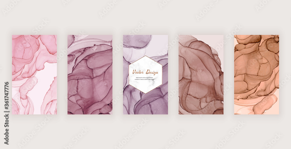 Fototapeta Social media stories banners with pink, brown and nude alcohol ink texture and marble frame