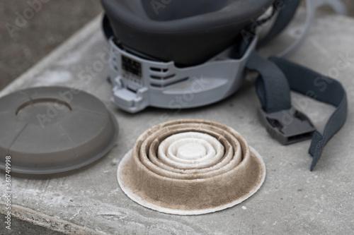 Photo 防塵マスクの使用済みフィルター