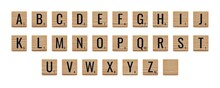Alphabet Letters On Wooden Pieces, Classic Board Game.