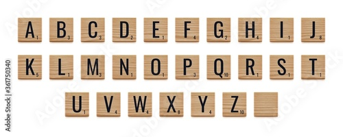 Fotografia Alphabet letters on wooden pieces, classic board game.