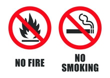 No Fire Vector Sign Icon. No Flame Sign Icon Symbol. Vector Illustration Image. Isolated On White Background. No Smoking.