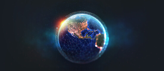 Earth view from space. Global network. Blockchain technology. Planet and communication. Future world 3D illustration. Elements of this image are furnished by NASA